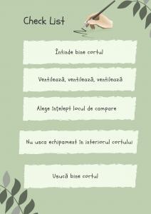 Check List condensul în cort